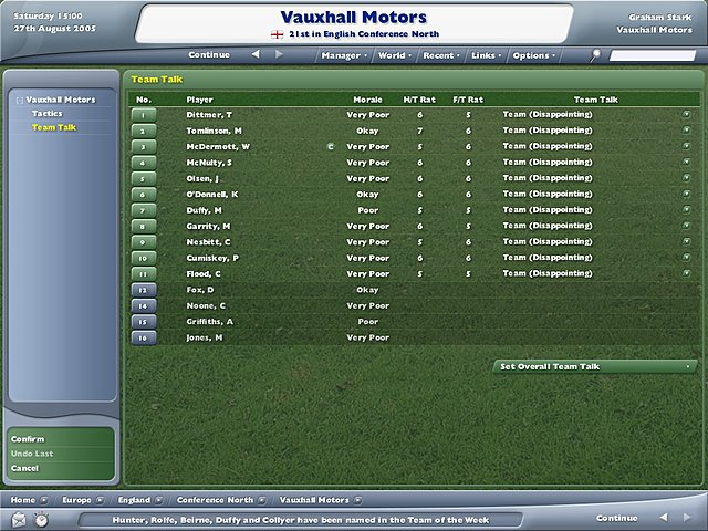 Football Manager 2006 - PC Screen