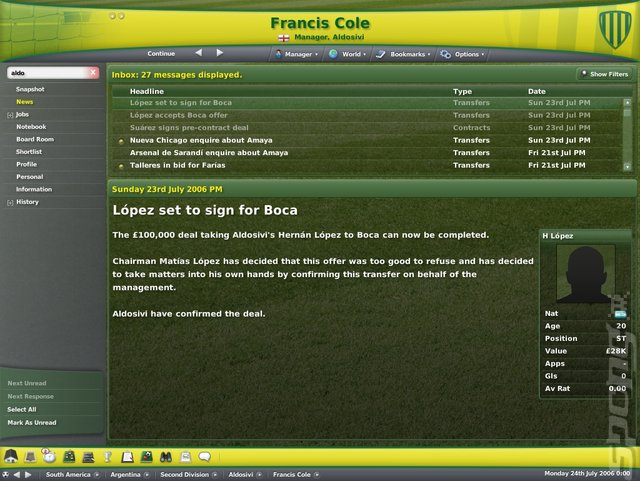 Football Manager 2007 - PC Screen